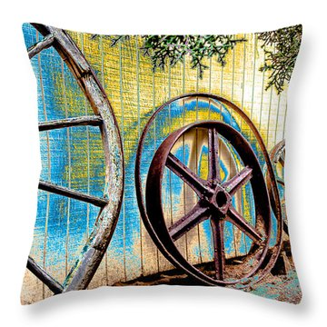 Wagon Wheel Art Throw Pillow by Beverly Parks