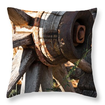 Wagon Wheel Throw Pillow by Lawrence Burry