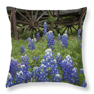 Wagon With Bluebonnets Throw Pillow