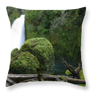 Wahclella Falls And Boulder Throw Pillow
