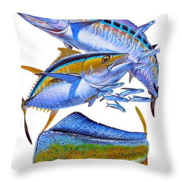 Wahoo Tuna Dolphin Throw Pillow by Carey Chen