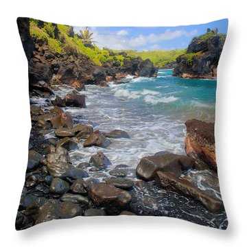 Waianapanapa Rocks Throw Pillow by Inge Johnsson
