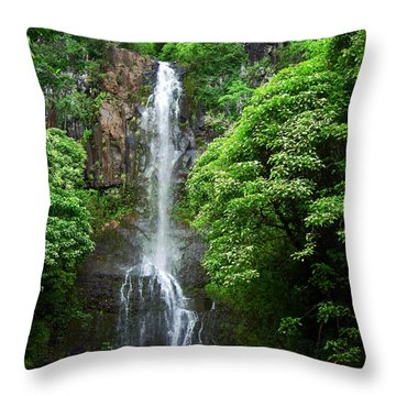 Waikani Falls At Wailua Maui Hawaii Throw Pillow by Connie Fox