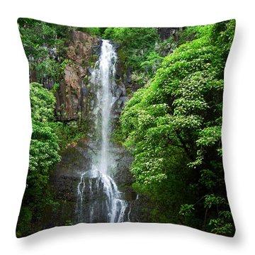 Throw Pillow featuring the photograph Waikani Falls At Wailua Maui Hawaii by Connie Fox