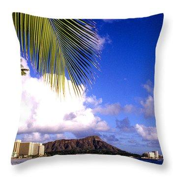 Waikiki Beach Diamond Head Throw Pillow by Thomas R Fletcher