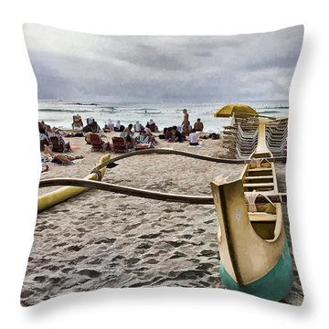 Waikiki Beach Hawaii Throw Pillow by Douglas Barnard