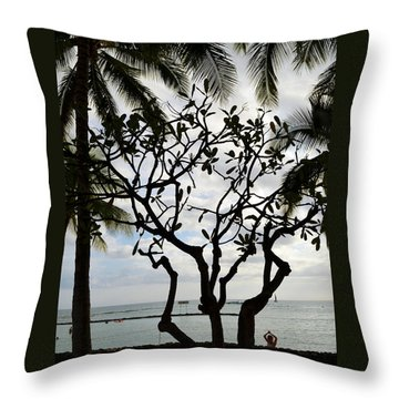 Waikiki Beach Hawaii Throw Pillow