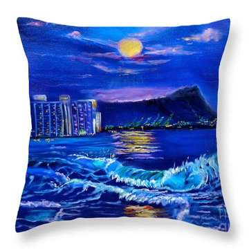 Waikiki Lights Throw Pillow