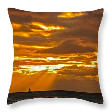 Waikiki Sun Set Throw Pillow