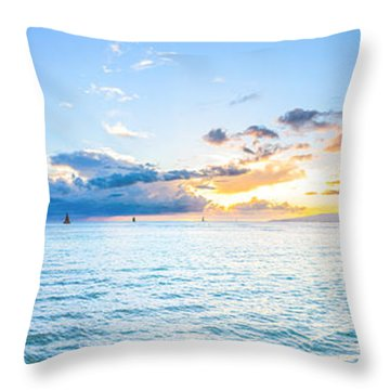Waikiki Sunset After An Afternoon Thunderstorm Throw Pillow