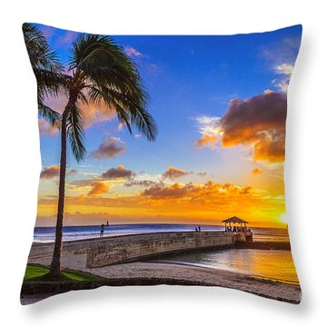 Waikiki Sunset Off Of The Pier Throw Pillow by Aloha Art