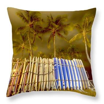 Waikiki Surf Throw Pillow by Douglas Barnard