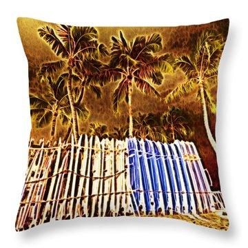 Waikiki Surf- Hawaii Throw Pillow by Douglas Barnard