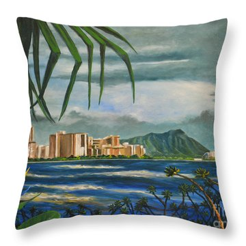 Waikiki View Throw Pillow