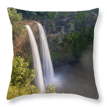 Wailua Falls - Kauai Hawaii Throw Pillow by Brian Harig