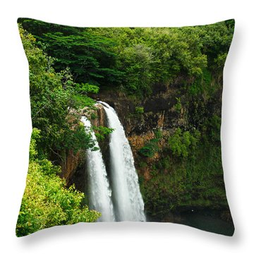 Wailua Falls Kauai Throw Pillow