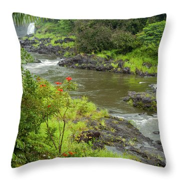 Wailuka River Throw Pillow by Bob Phillips