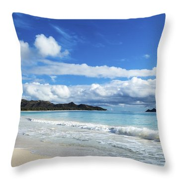 Waimanalo And Bellows Beach 1 Throw Pillow by Leigh Anne Meeks
