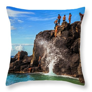 Throw Pillow featuring the photograph Waimea Bay Rock Jumpers by Aloha Art