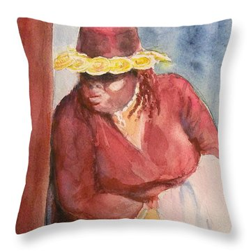 Waiting 1 Throw Pillow by Yoshiko Mishina