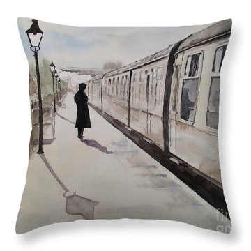 Waiting At Williton Throw Pillow by Martin Howard