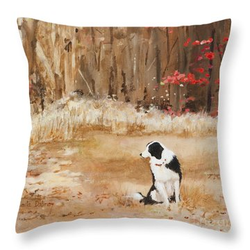Waiting At Woods Edge Throw Pillow by Carla Dabney