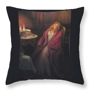 Throw Pillow featuring the painting Waiting by Donna Tucker