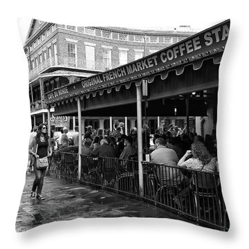 Waiting For A Beignet Mono Throw Pillow