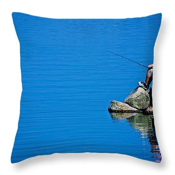 Waiting For A Bite Throw Pillow by Mark Miller