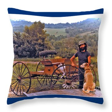 Waiting For A Lift On The Old Buckboard Throw Pillow by Patricia Keller