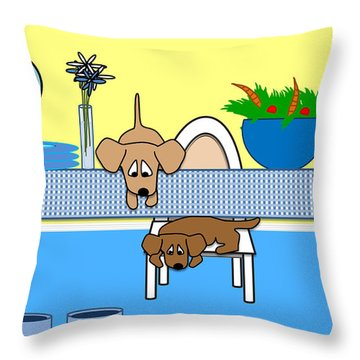 Waiting For Chow Throw Pillow by Natalie Terrill