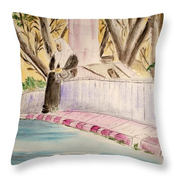 Waiting For Her Ride - Jerusalem Throw Pillow by Linda Feinberg