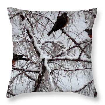 Waiting For Spring Throw Pillow by Kathy Bassett
