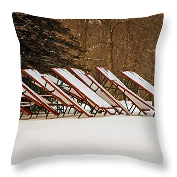 Waiting For Summer - Picnic Tables Throw Pillow by Mary Machare