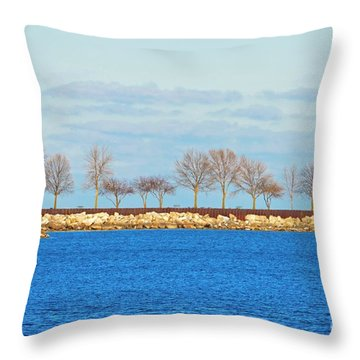 Waiting For Summer - Trees At The Edge Throw Pillow by Mary Machare