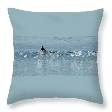Waiting For The Big One Throw Pillow by Jocelyn Kahawai