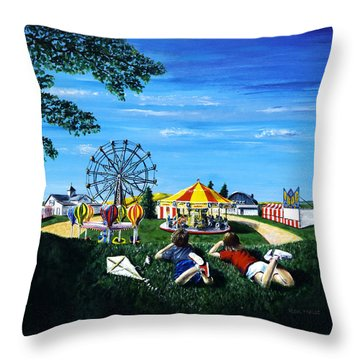 Throw Pillow featuring the painting Waiting For The Fair by Ron Haist