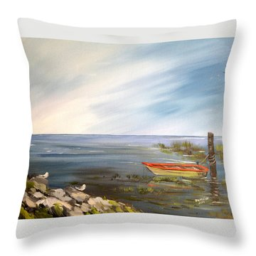 Waiting For The Fisherman Throw Pillow by Dorothy Maier