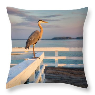 Waiting For The Fishing Boats To Arrive Throw Pillow