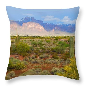 Throw Pillow featuring the photograph 16x20 Canvas - Superstition Mountain Light by Tam Ryan