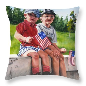 Waiting For The Parade Throw Pillow by Lori Brackett