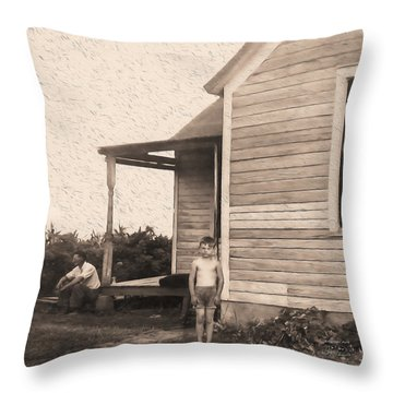 Waiting For The Rain Wataga Illinois 1944 Throw Pillow