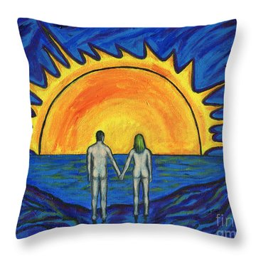 Waiting For The Sun Throw Pillow by Roz Abellera Art