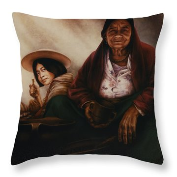 Waiting For The Sunset Throw Pillow by Yvonne Wright