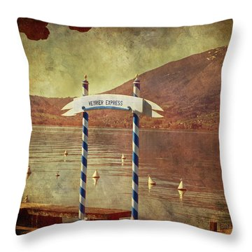Waiting For The Taxi Boat Throw Pillow by Barbara Orenya