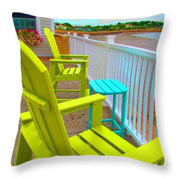 Waiting For Tide And Sunset Throw Pillow by Barbara McDevitt