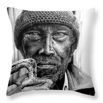 Throw Pillow featuring the drawing Man With Cane by Geni Gorani