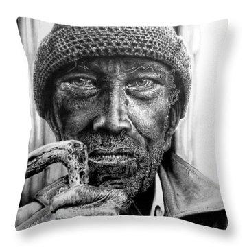 Man With Cane Throw Pillow