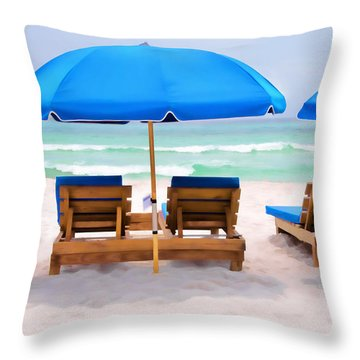 Panama City Beach Digital Painting Throw Pillow