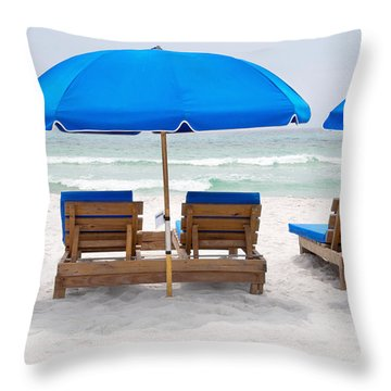 Panama City Beach Florida Empty Chairs Throw Pillow by Vizual Studio
